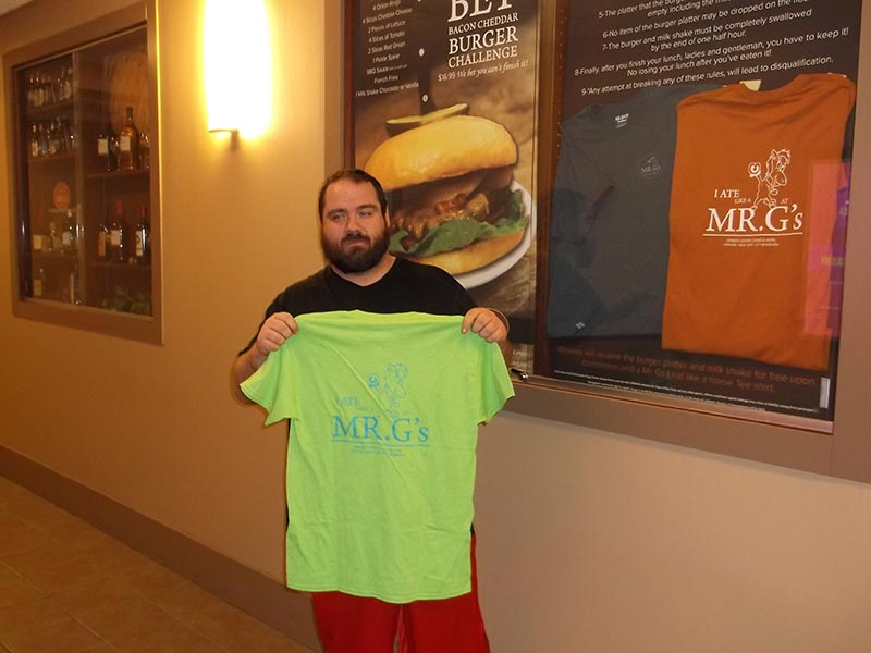 Mr. G's Big Bet Burger Challenge Winner Jason P.